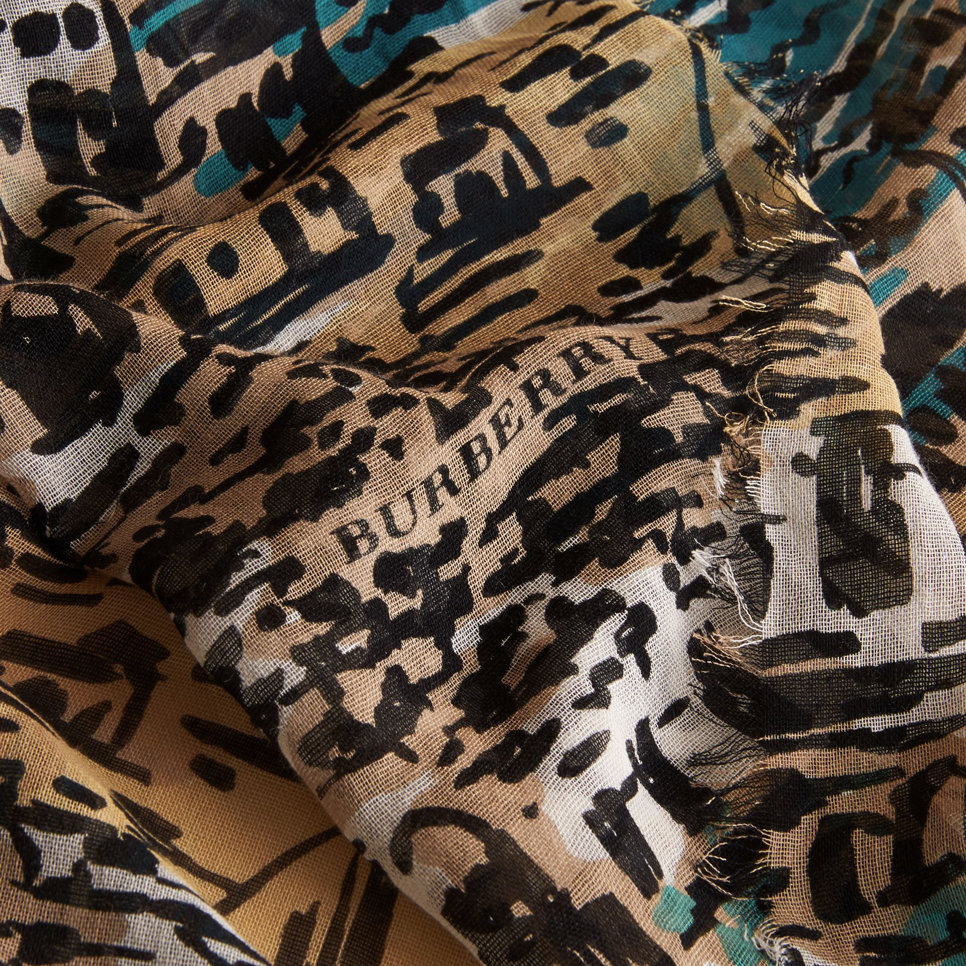 British Seaside Print Cotton Cashmere Scarf Aqua Green - gallery image 2