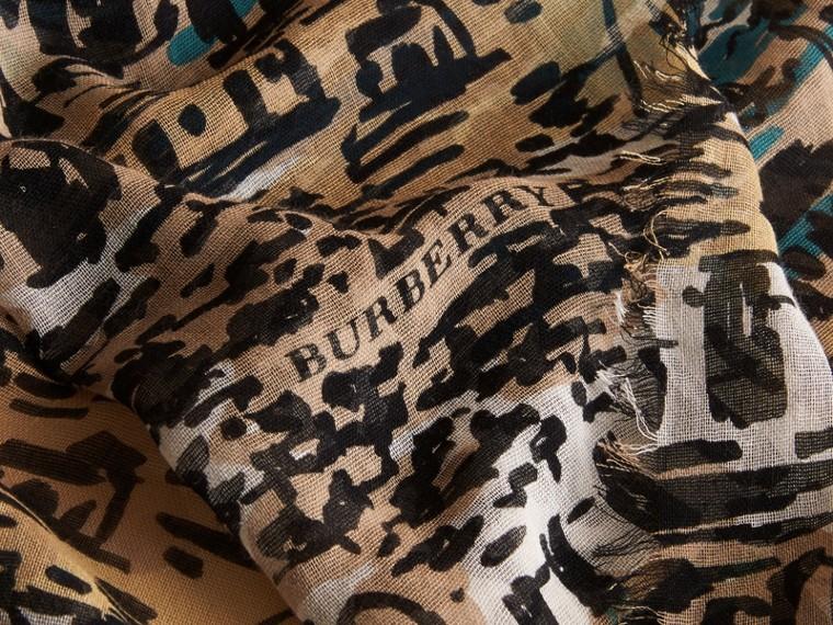 British Seaside Print Cotton Cashmere Scarf Aqua Green - cell image 1