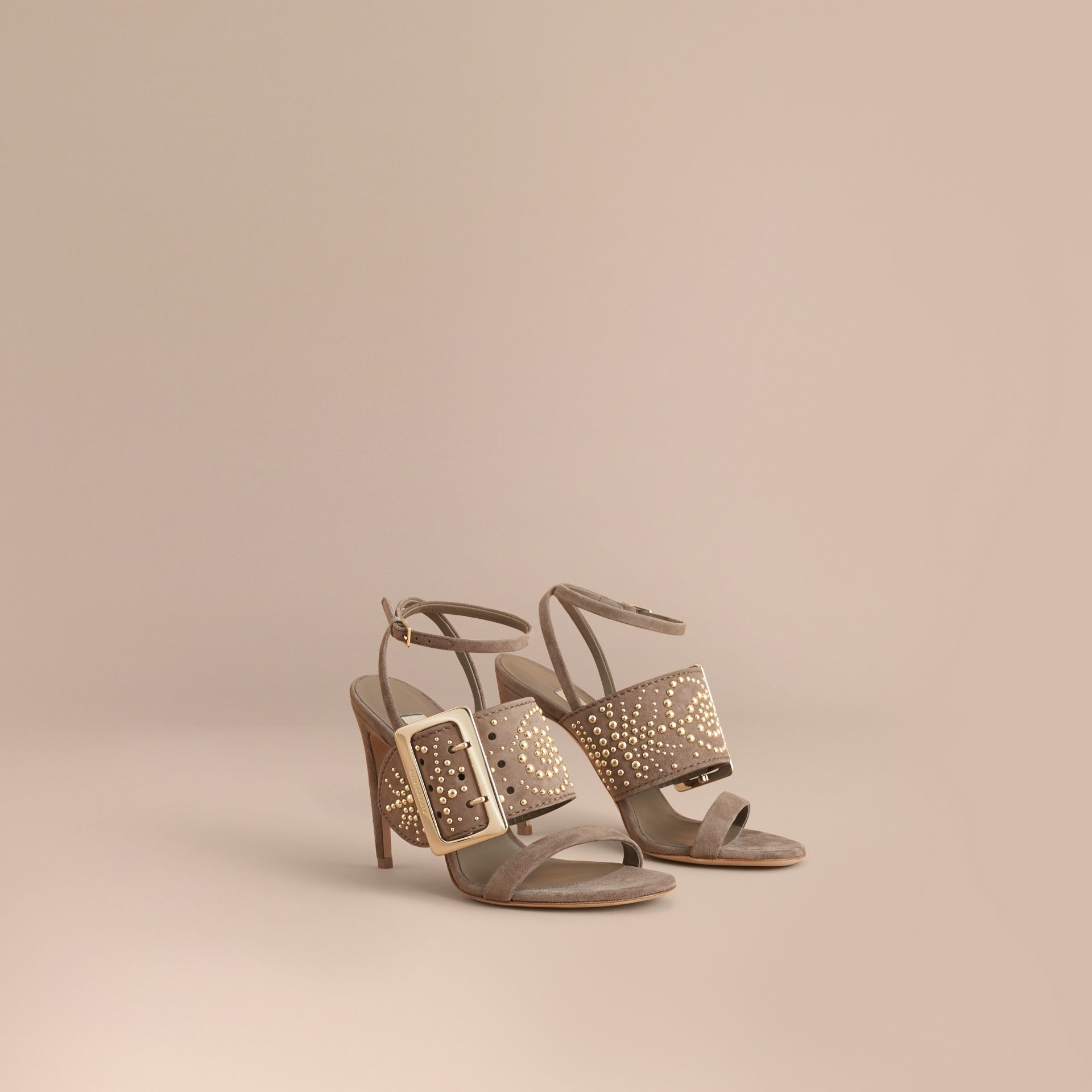 Riveted Suede Sandals with Buckle Detail in Dark Heather Melange - Women | Burberry - gallery image 1