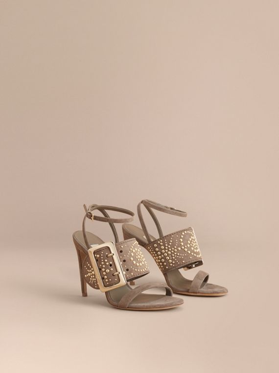 Riveted Suede Sandals with Buckle Detail in Dark Heather Melange