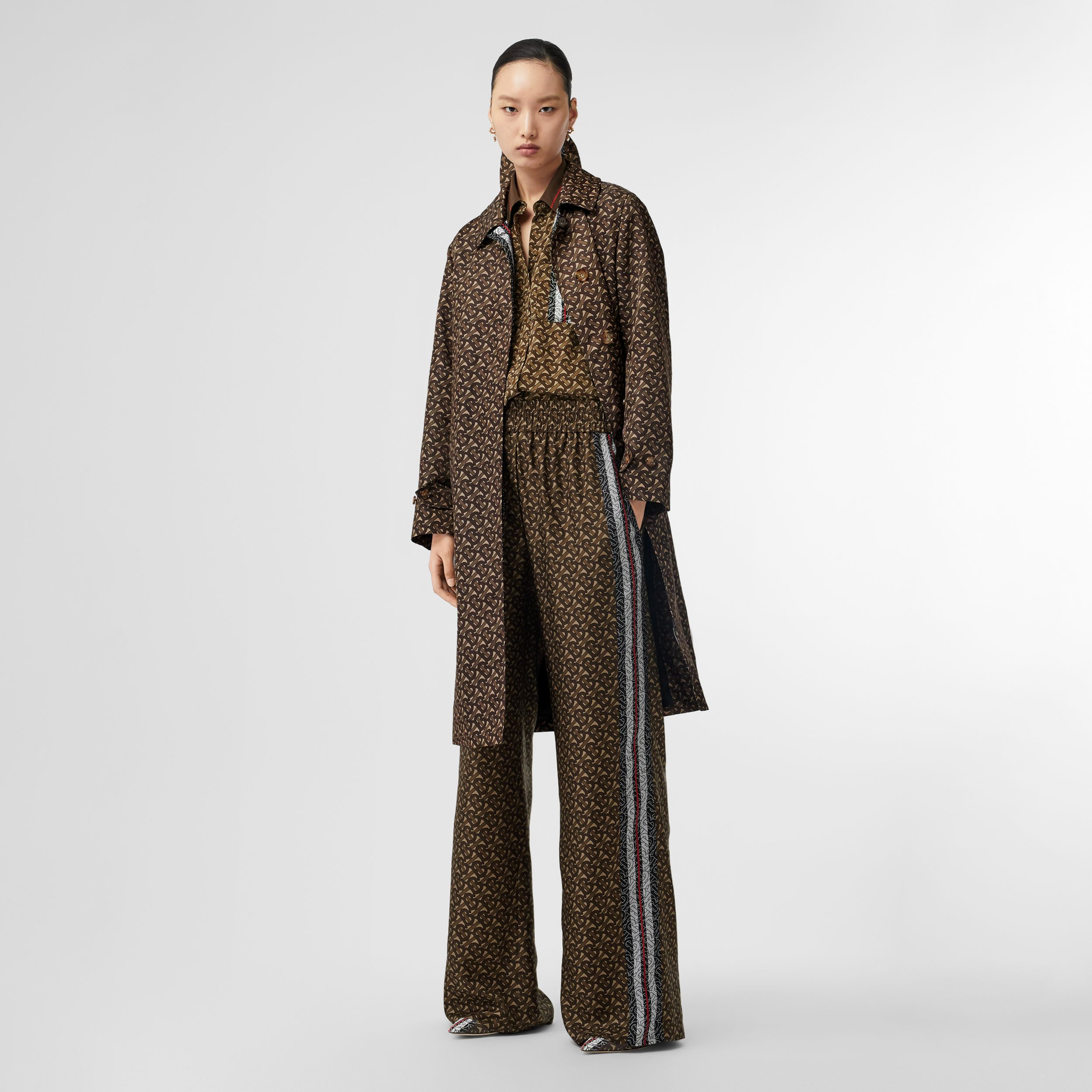 Monogram Stripe Print Silk Wide-leg Trousers in Bridle Brown - Women | Burberry Canada - 1