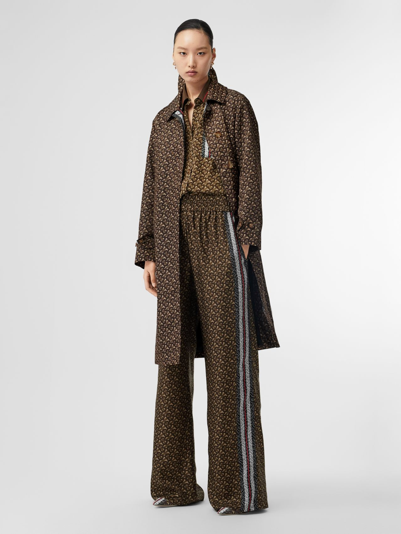 Monogram Stripe Print Silk Wide-leg Trousers in Bridle Brown