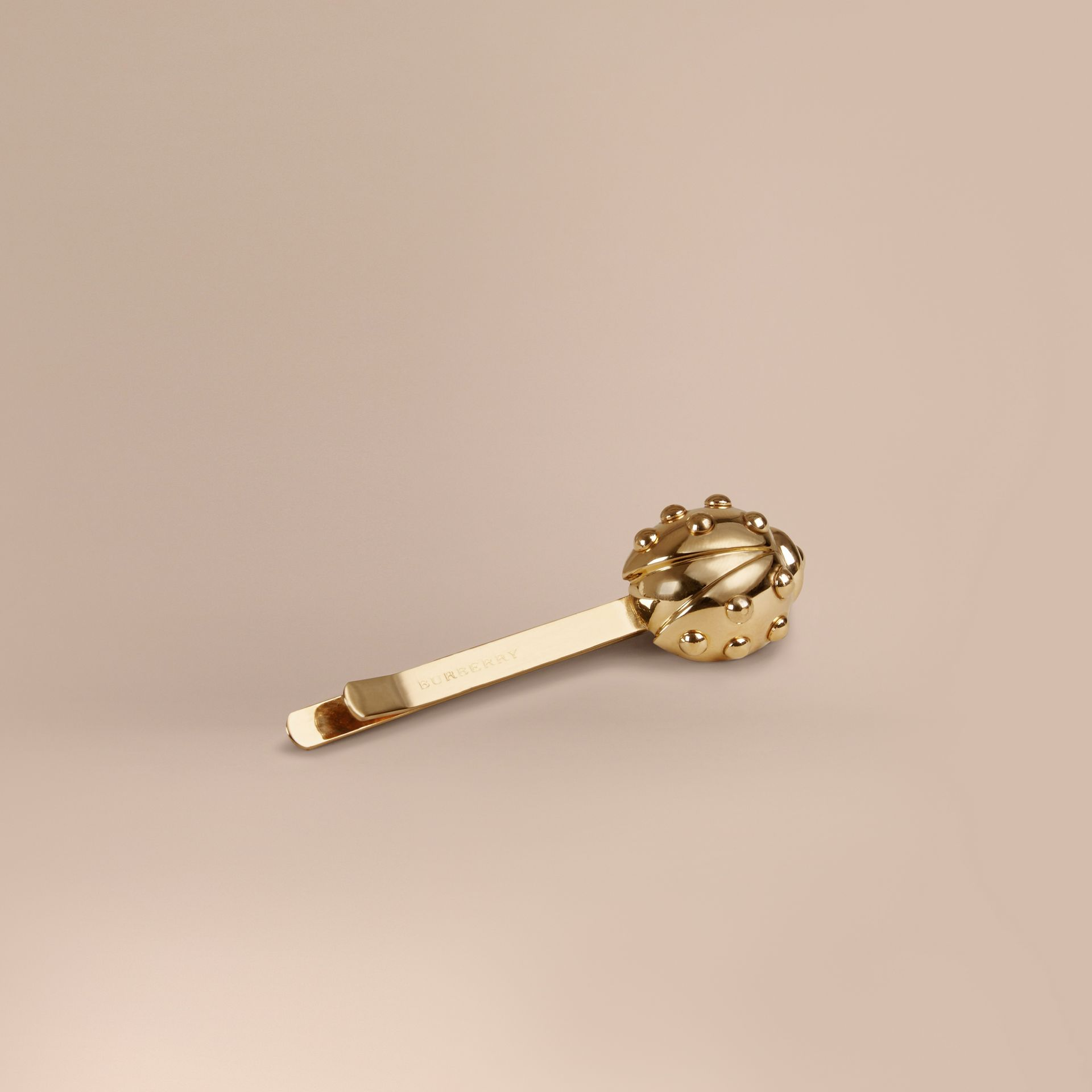 Light gold Ladybird Brass Hairslide - gallery image 1