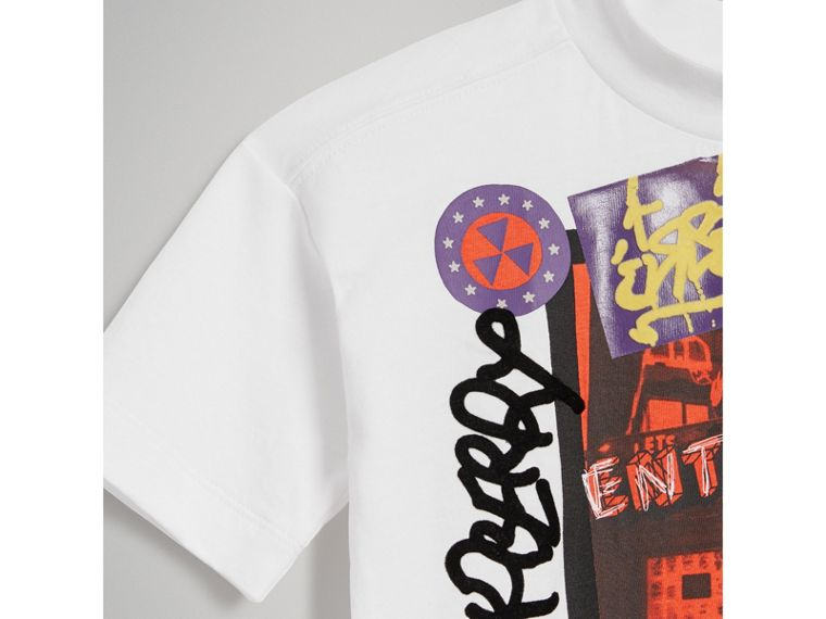 London Street Art Print Cotton T-shirt in White - Girl | Burberry - cell image 4