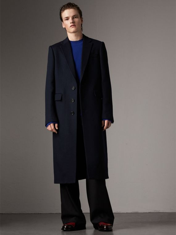 Tartan-lined Cashmere Twill Topcoat in Navy