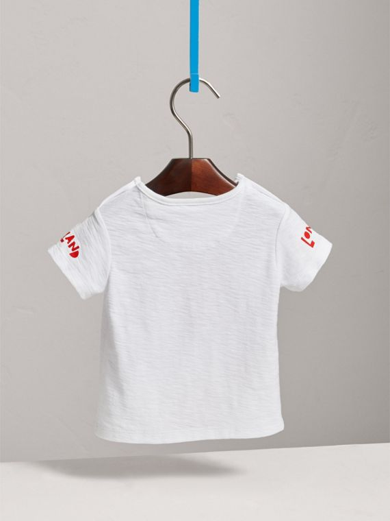 London Icons Print Cotton T-shirt in White | Burberry Singapore - cell image 3