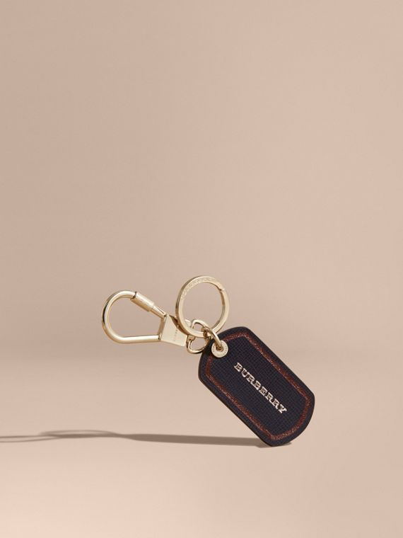 Border Detail London Leather Key Charm Dark Navy
