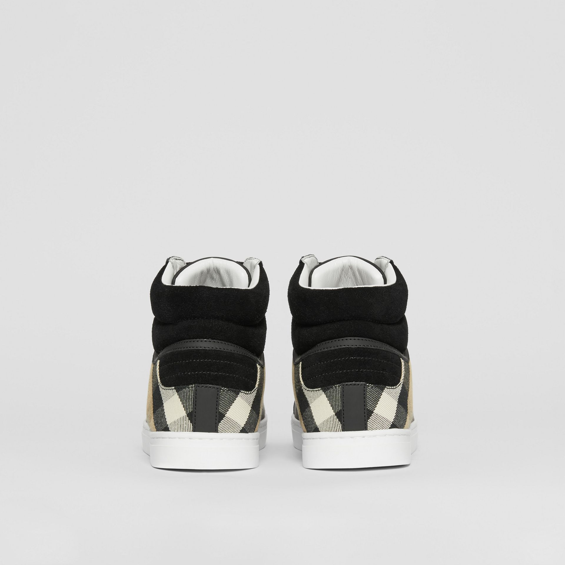 Leather, Suede and House Check High-top Sneakers in Black - Men | Burberry United States - gallery image 3