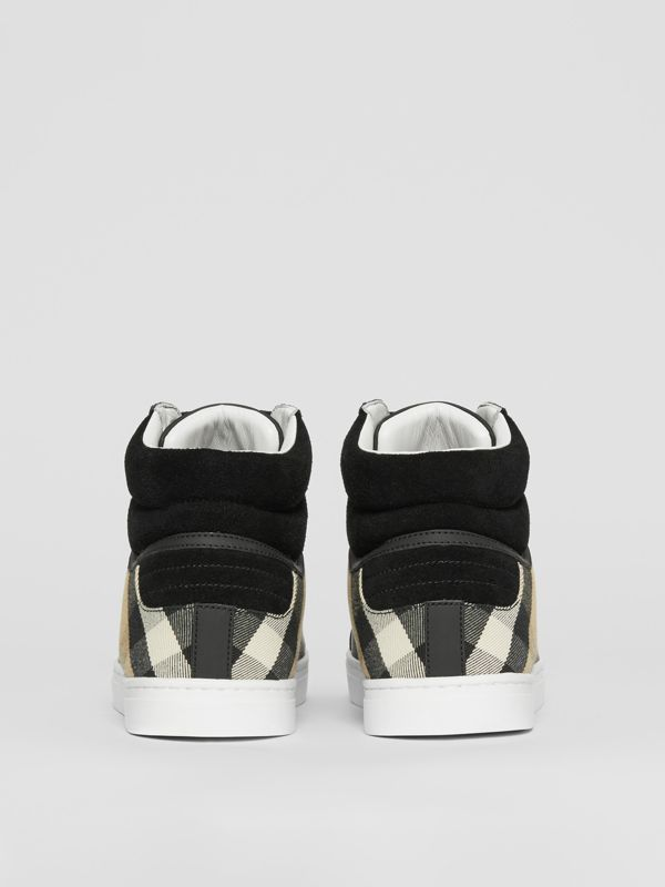 Leather, Suede and House Check High-top Sneakers in Black - Men | Burberry United States - cell image 3