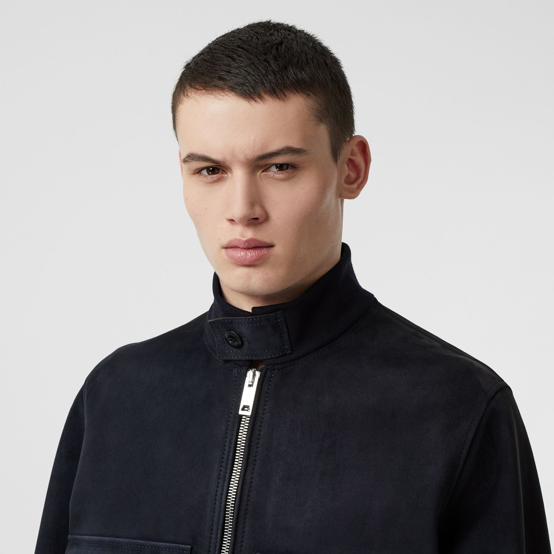Bonded Suede Bomber Jacket in Navy/dark Brown - Men | Burberry Australia - gallery image 1