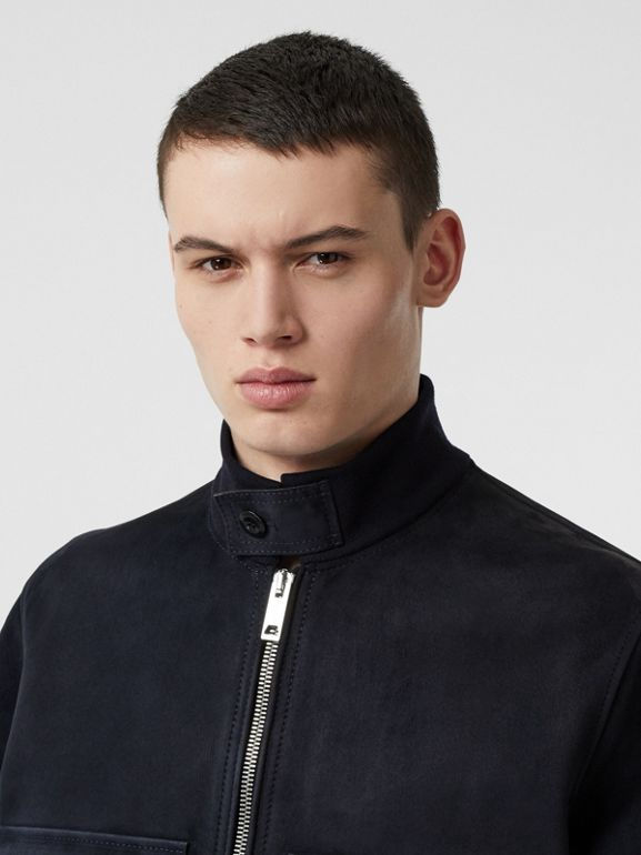 Bonded Suede Bomber Jacket in Navy/dark Brown - Men | Burberry - cell image 1
