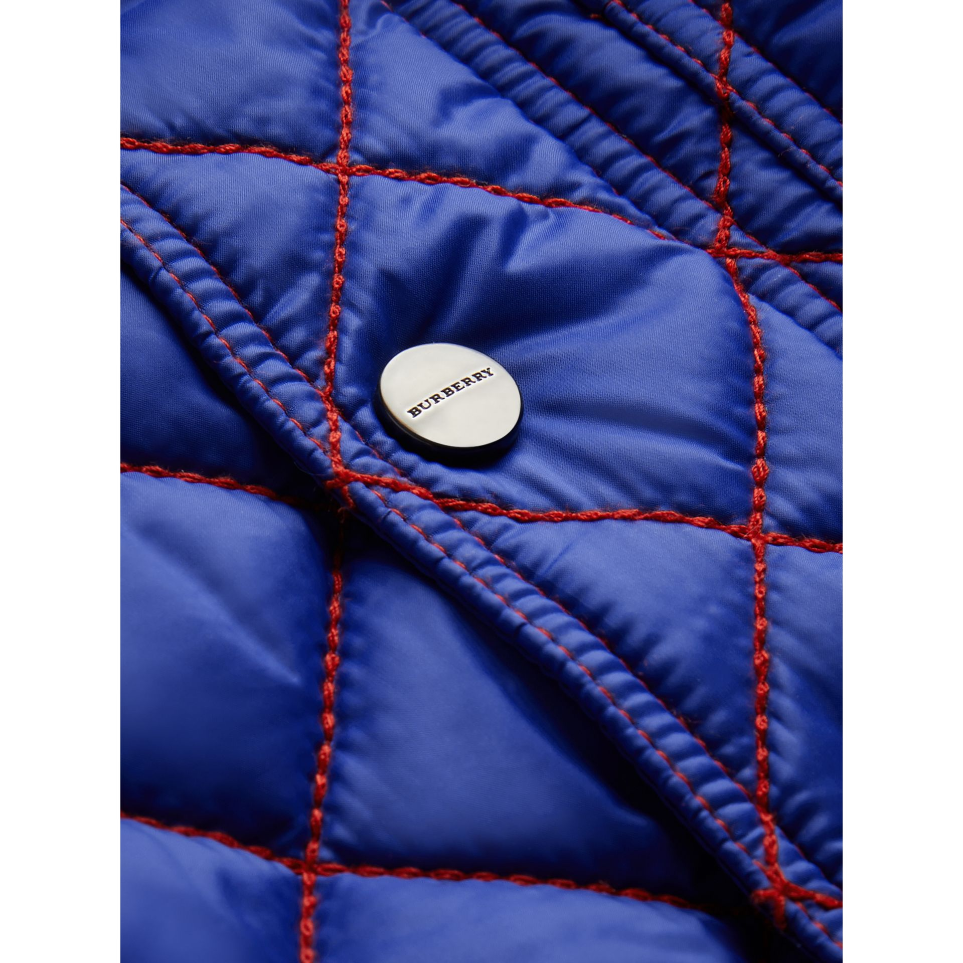 Topstitched Quilted Jacket in Brilliant Blue - Children | Burberry United Kingdom - gallery image 1