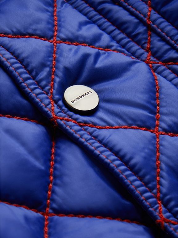 Topstitched Quilted Jacket in Brilliant Blue - Children | Burberry - cell image 1
