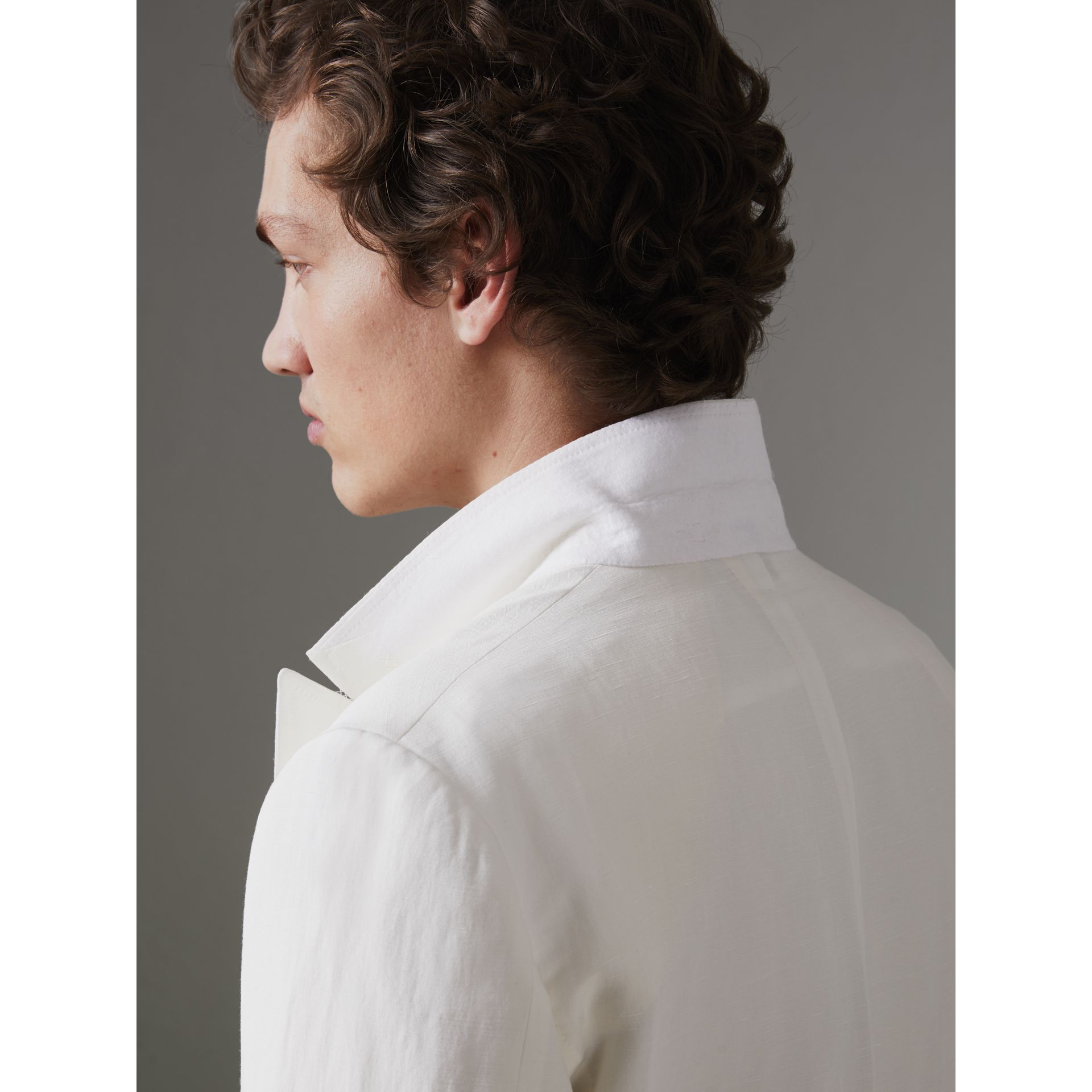 Linen Silk Double-breasted Tailored Jacket in Off White - Men | Burberry United Kingdom - gallery image 5