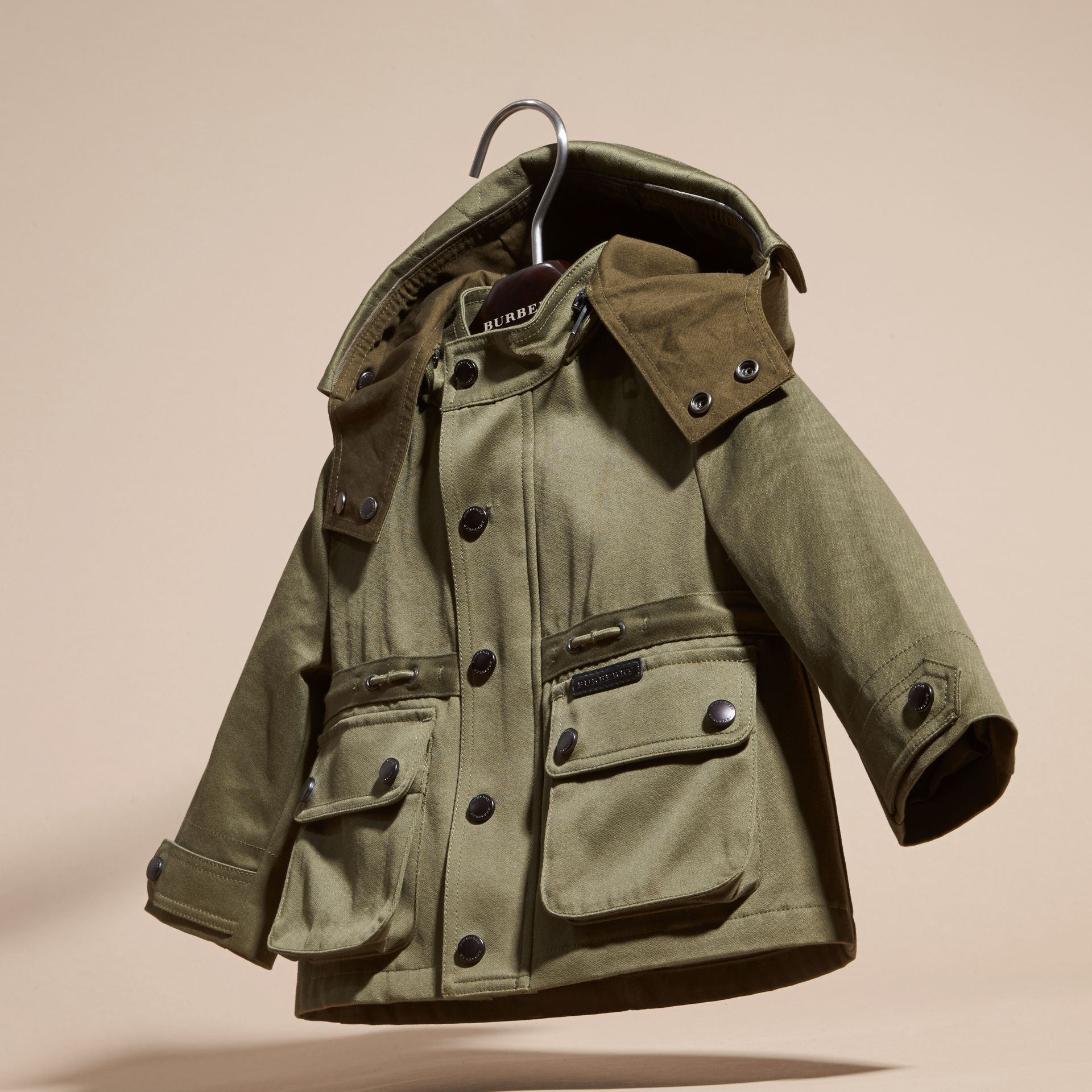 Olive Waxed Cotton Jacket with Detachable Warmer - gallery image 3