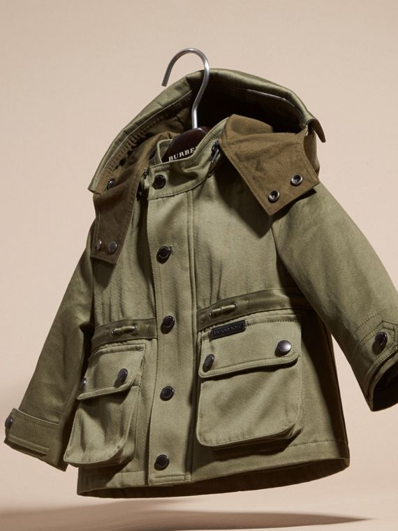 Olive Waxed Cotton Jacket with Detachable Warmer - cell image 2
