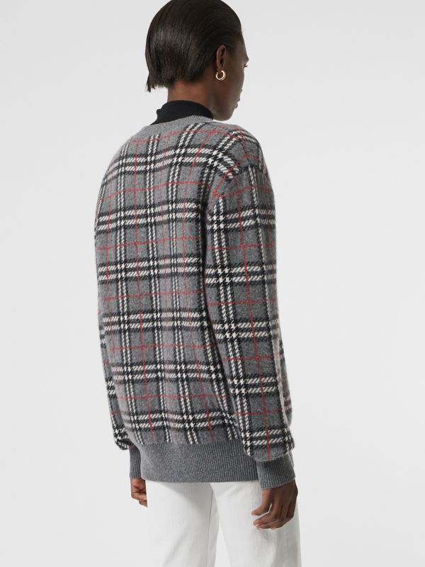 Check Cashmere Jacquard Sweater in Mid Grey Melange - Women | Burberry United Kingdom - cell image 2