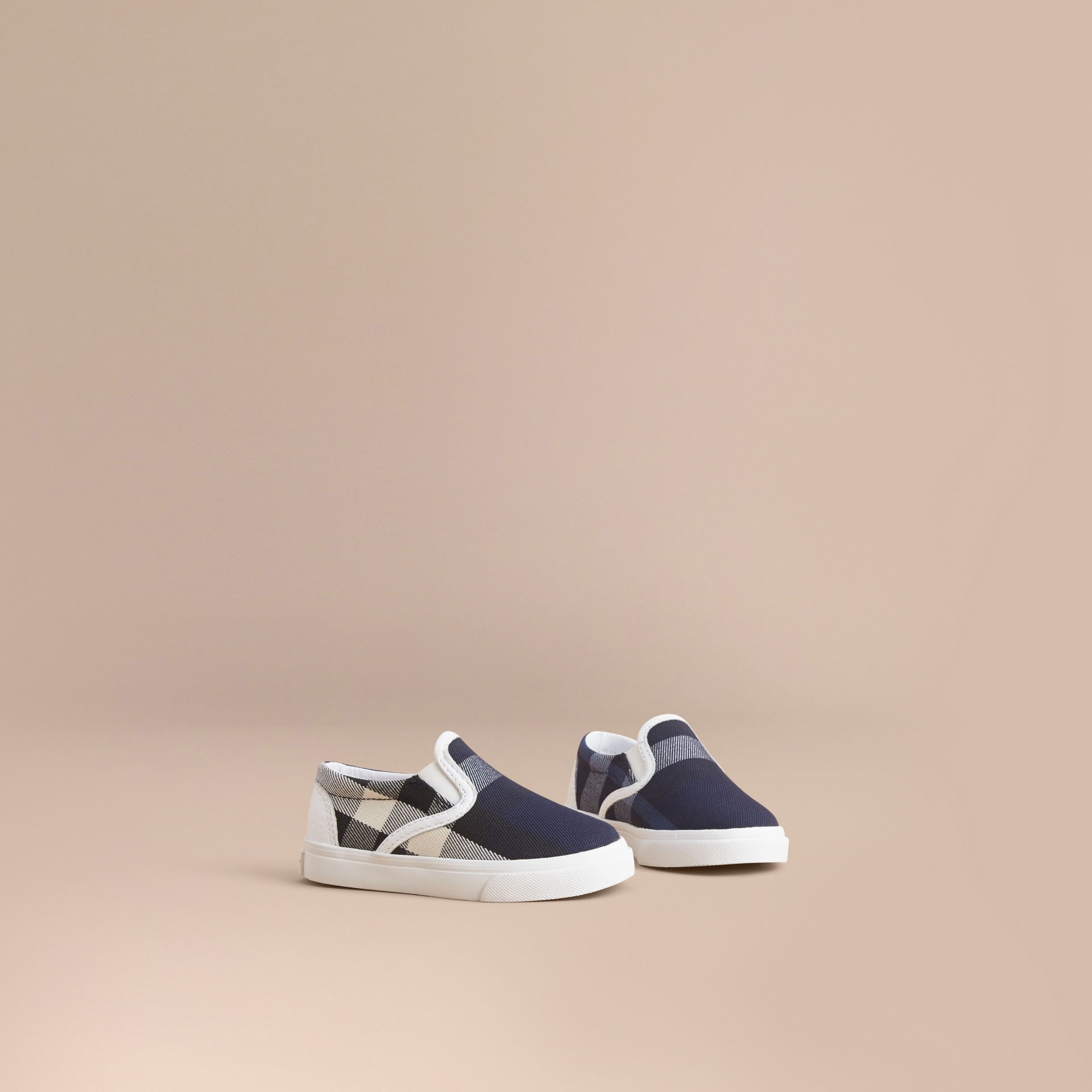 Tonal House Check and Leather Slip-on Trainers in Bright Sapphire - Children | Burberry - gallery image 1