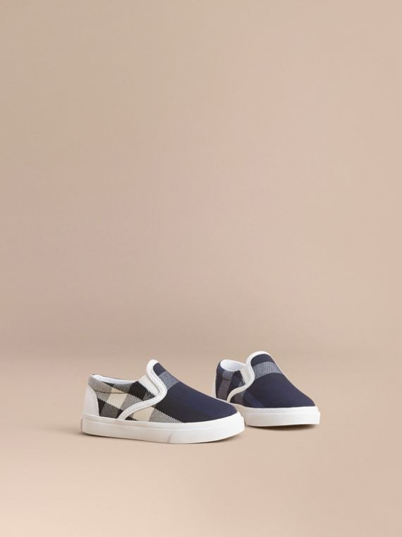 Tonal House Check and Leather Slip-on Trainers in Bright Sapphire - Children | Burberry Canada