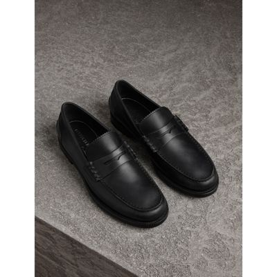 Leather Penny Loafers - Black Burberry HREMW3