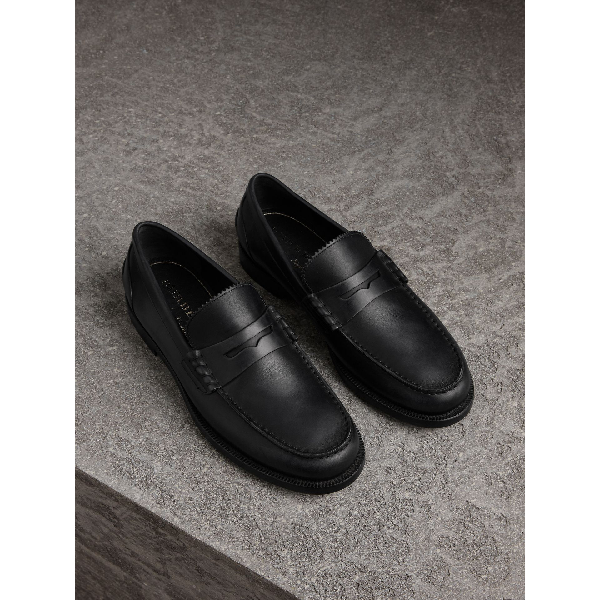 Leather Penny Loafers in Black - Men | Burberry United States - gallery image 0
