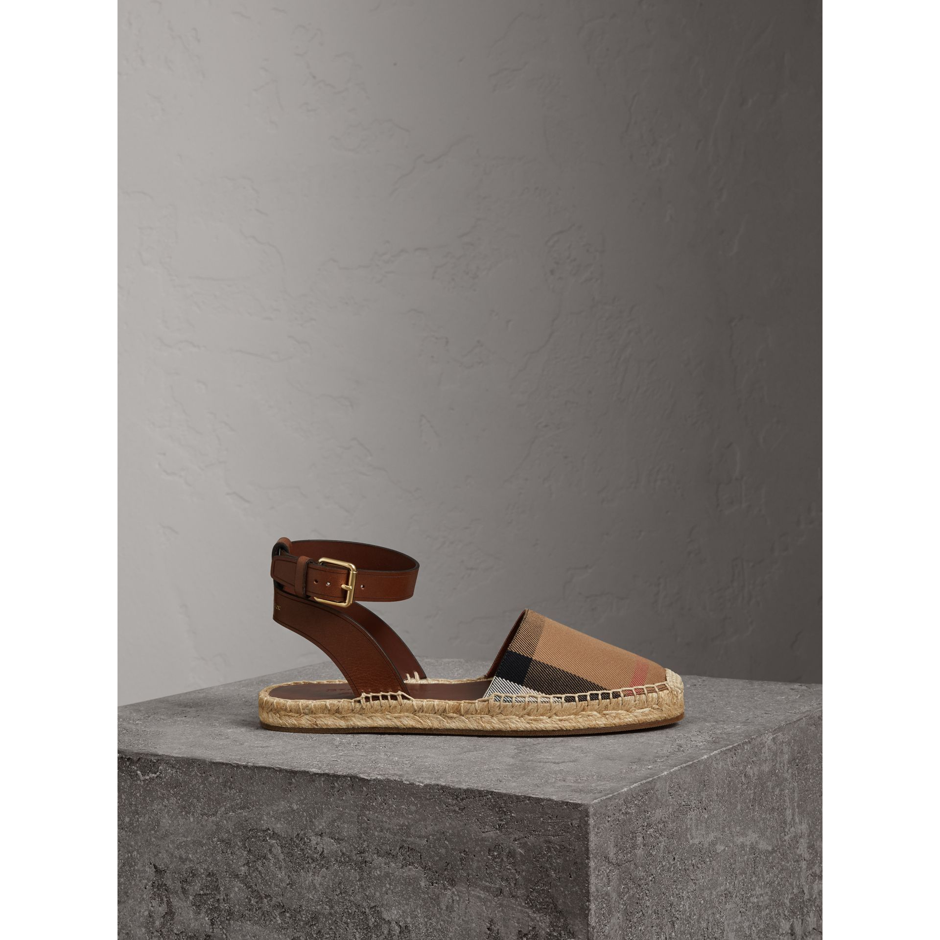 Leather and House Check Espadrille Sandals in Dark Tan - Women | Burberry Singapore - gallery image 4