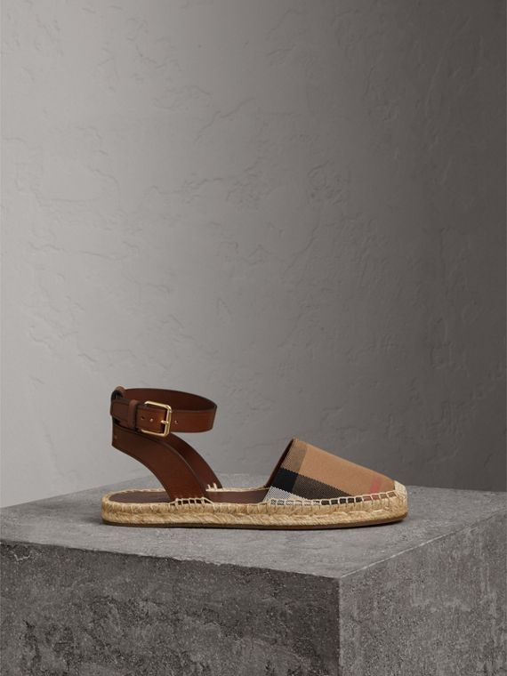 Sandali espadrillas in pelle e cotone con motivo House check (Marroncino Scuro)