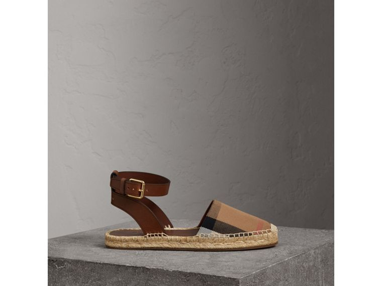 Leather and House Check Espadrille Sandals in Dark Tan - Women | Burberry - cell image 4