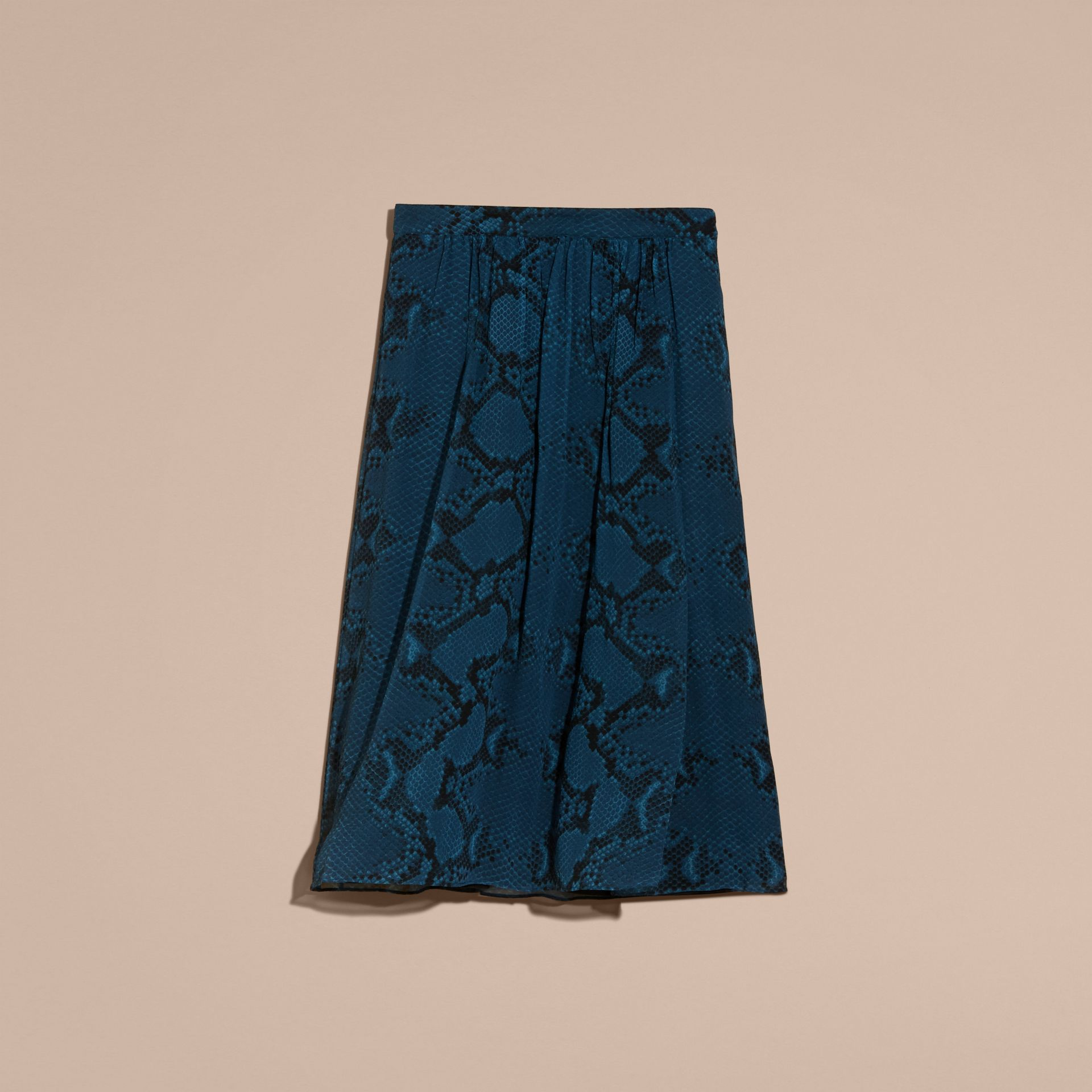 Mineral blue Python Print Silk Crepon Skirt - gallery image 4