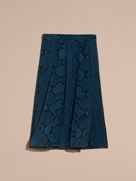 Mineral blue Python Print Silk Crepon Skirt - cell image 3