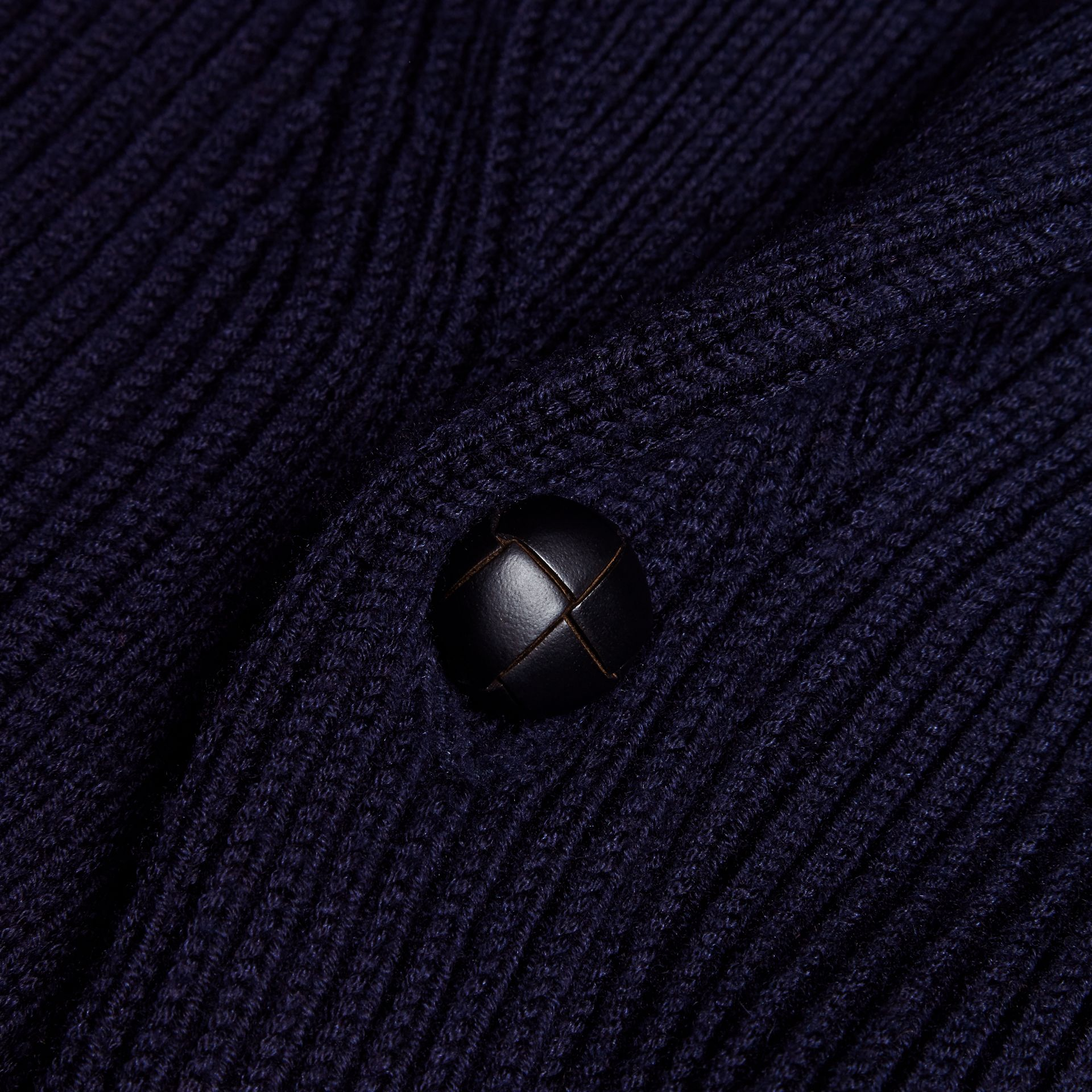 Navy Shawl Collar Ribbed Wool Silk Cardigan - gallery image 2