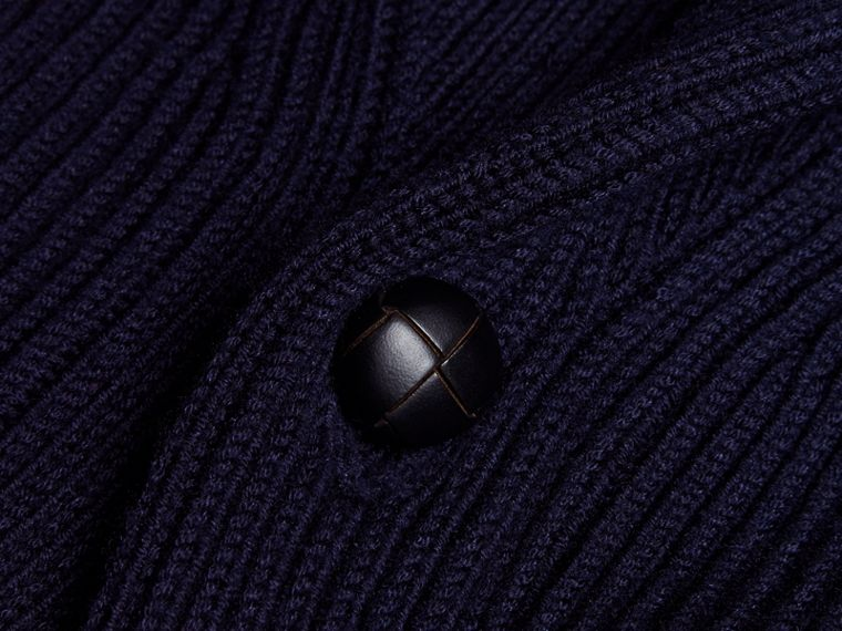 Navy Shawl Collar Ribbed Wool Silk Cardigan - cell image 1