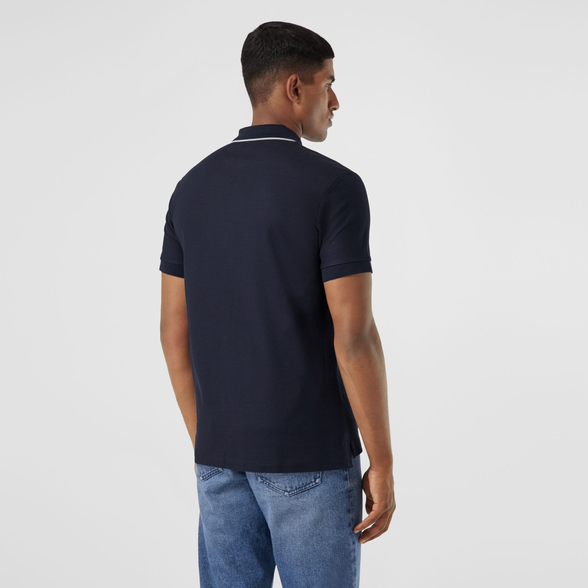 Logo Graphic Cotton Piqué Polo Shirt in Navy - Men | Burberry United States - gallery image 2