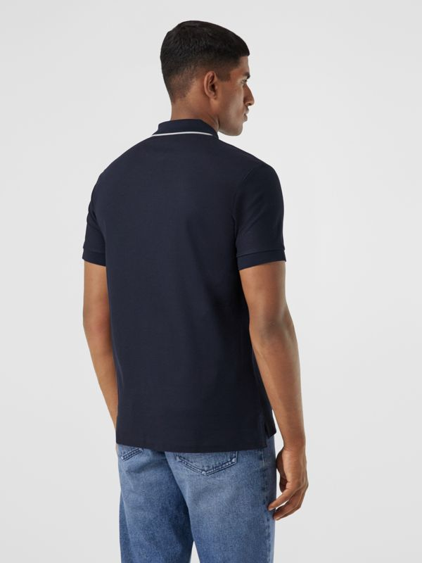Logo Graphic Cotton Piqué Polo Shirt in Navy - Men | Burberry United States - cell image 2