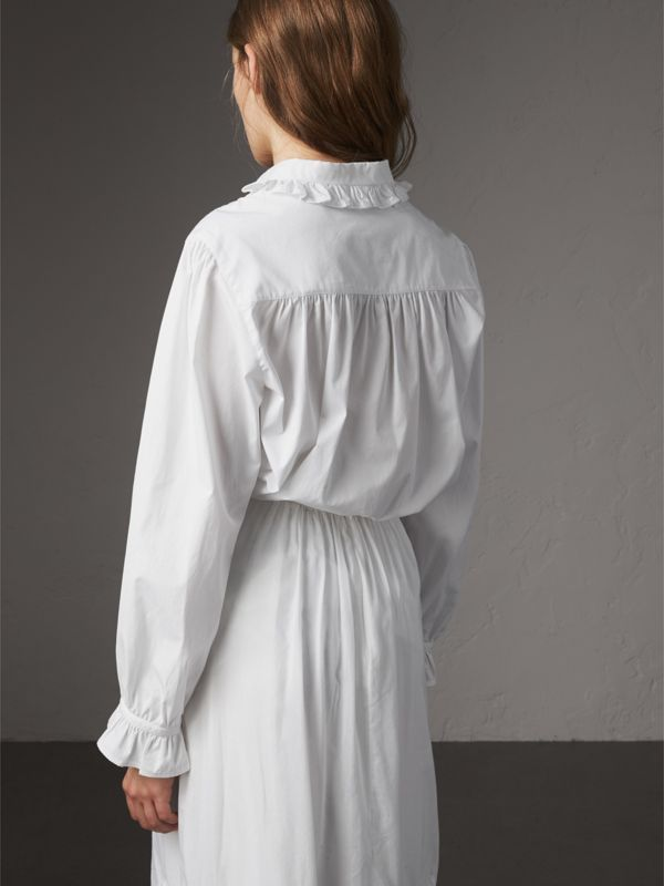 Ruffle and Pintuck Detail Cotton Shirt in White - Women | Burberry - cell image 2