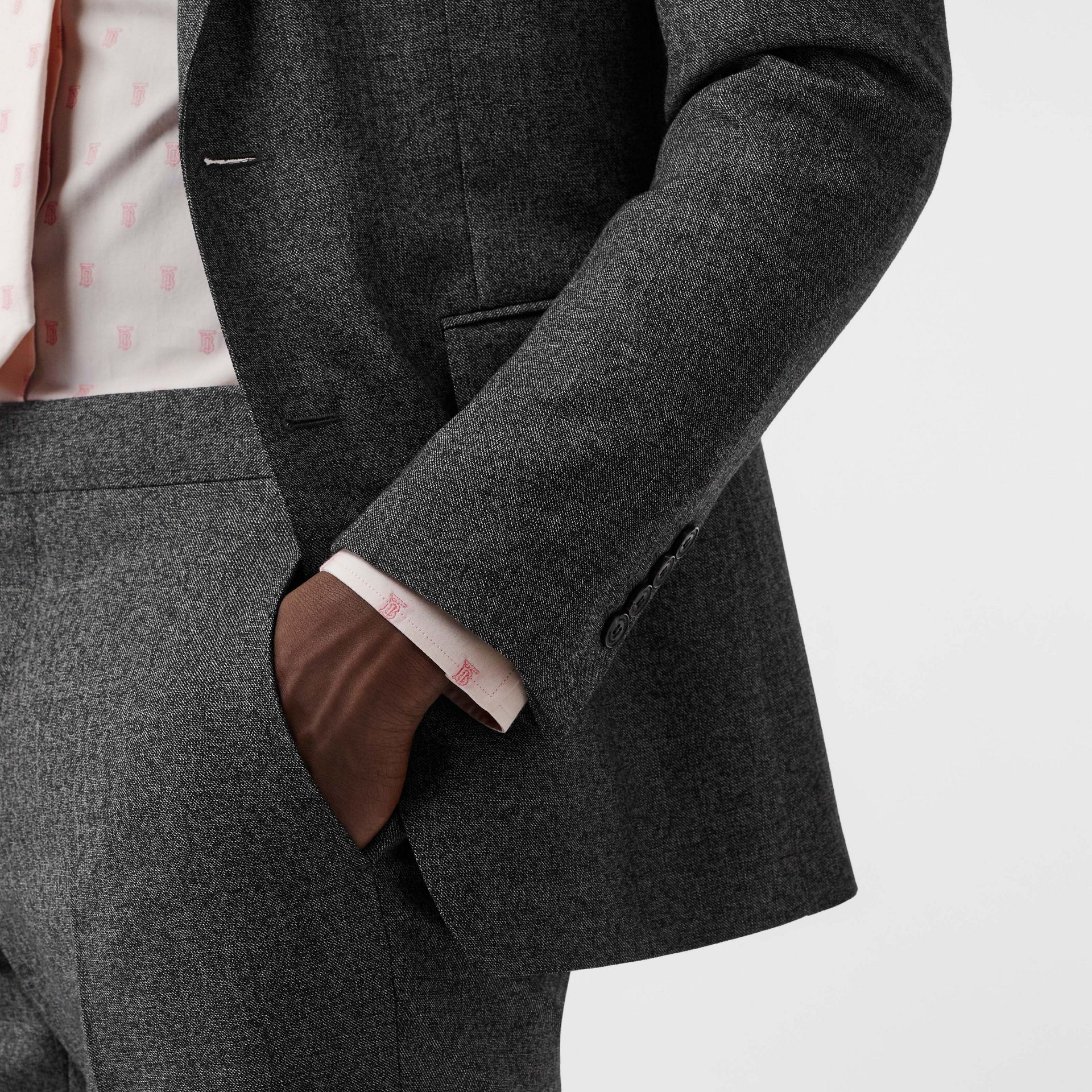 English Fit Sharkskin Wool Suit in Black Melange - Men | Burberry Australia - gallery image 4