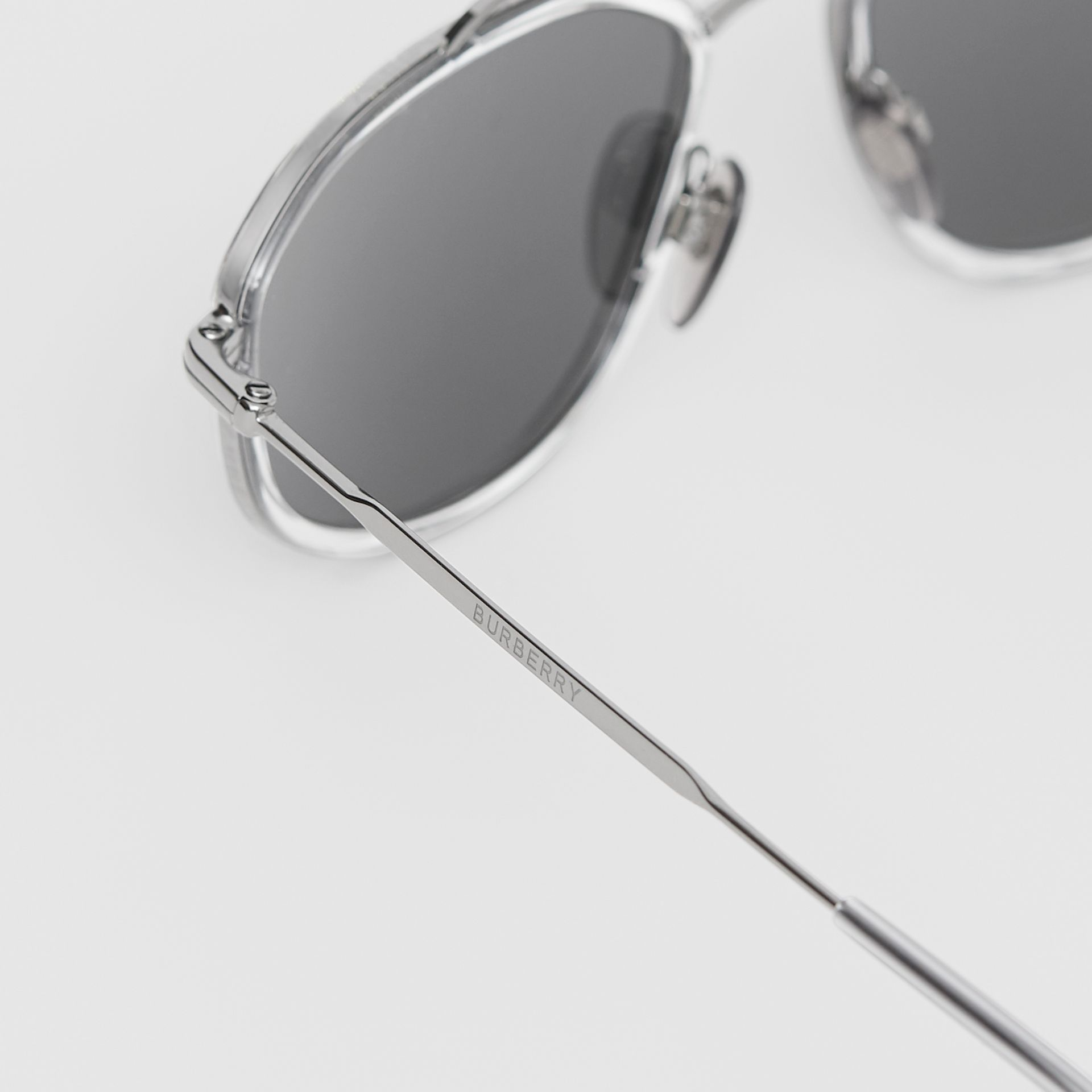 Geometric Navigator Sunglasses in Gunmetal Grey - Men | Burberry United Kingdom - gallery image 1