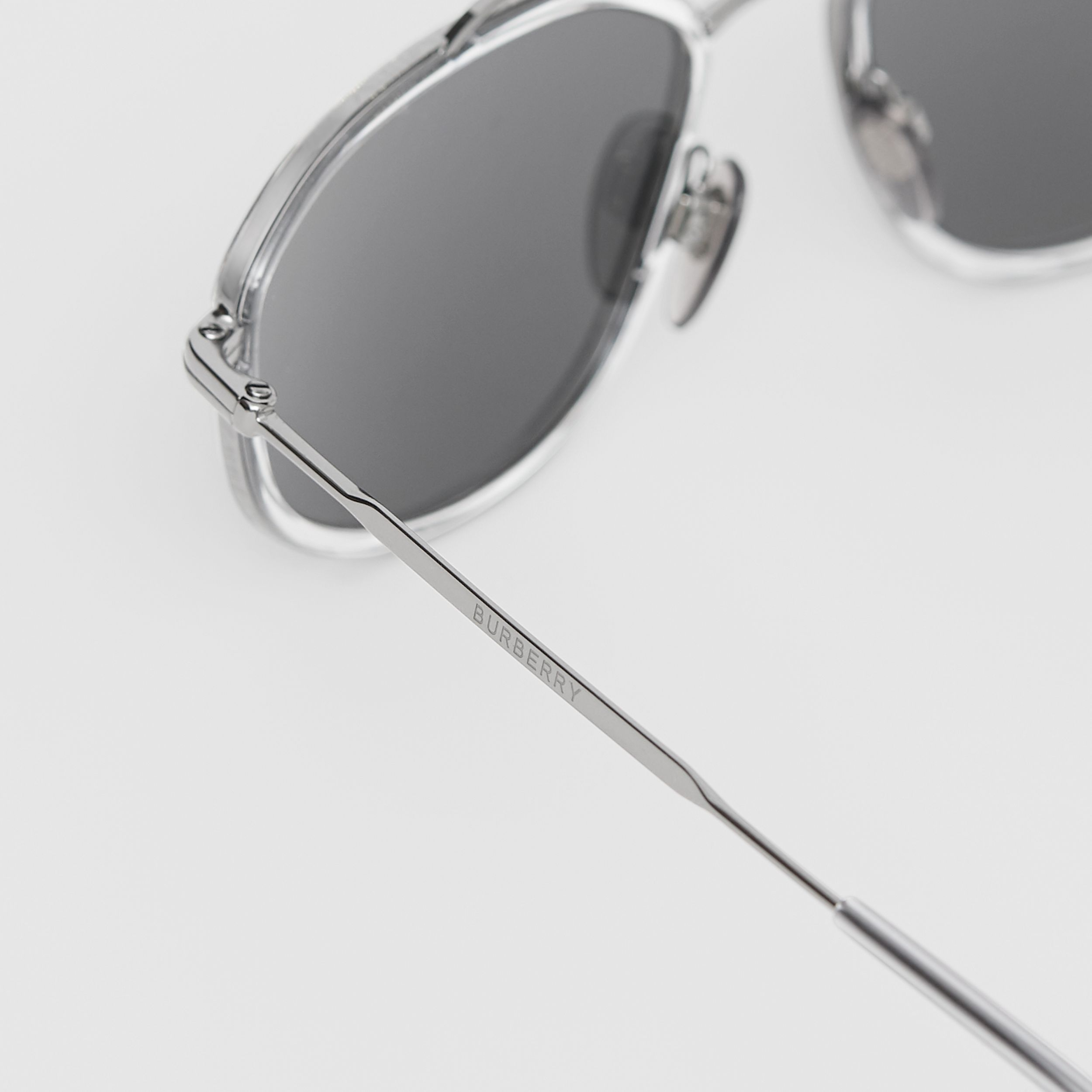 Geometric Navigator Sunglasses in Gunmetal Grey - Men | Burberry - 2