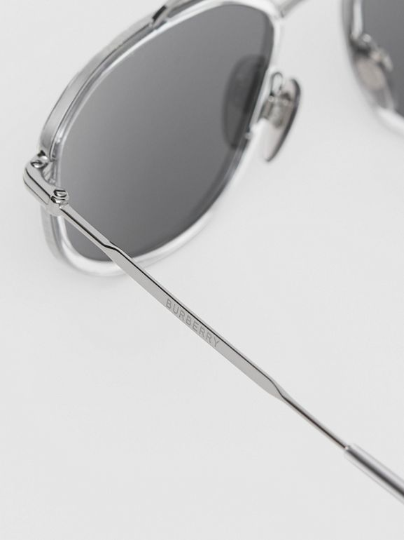 Geometric Navigator Sunglasses in Gunmetal Grey - Men | Burberry United Kingdom - cell image 1