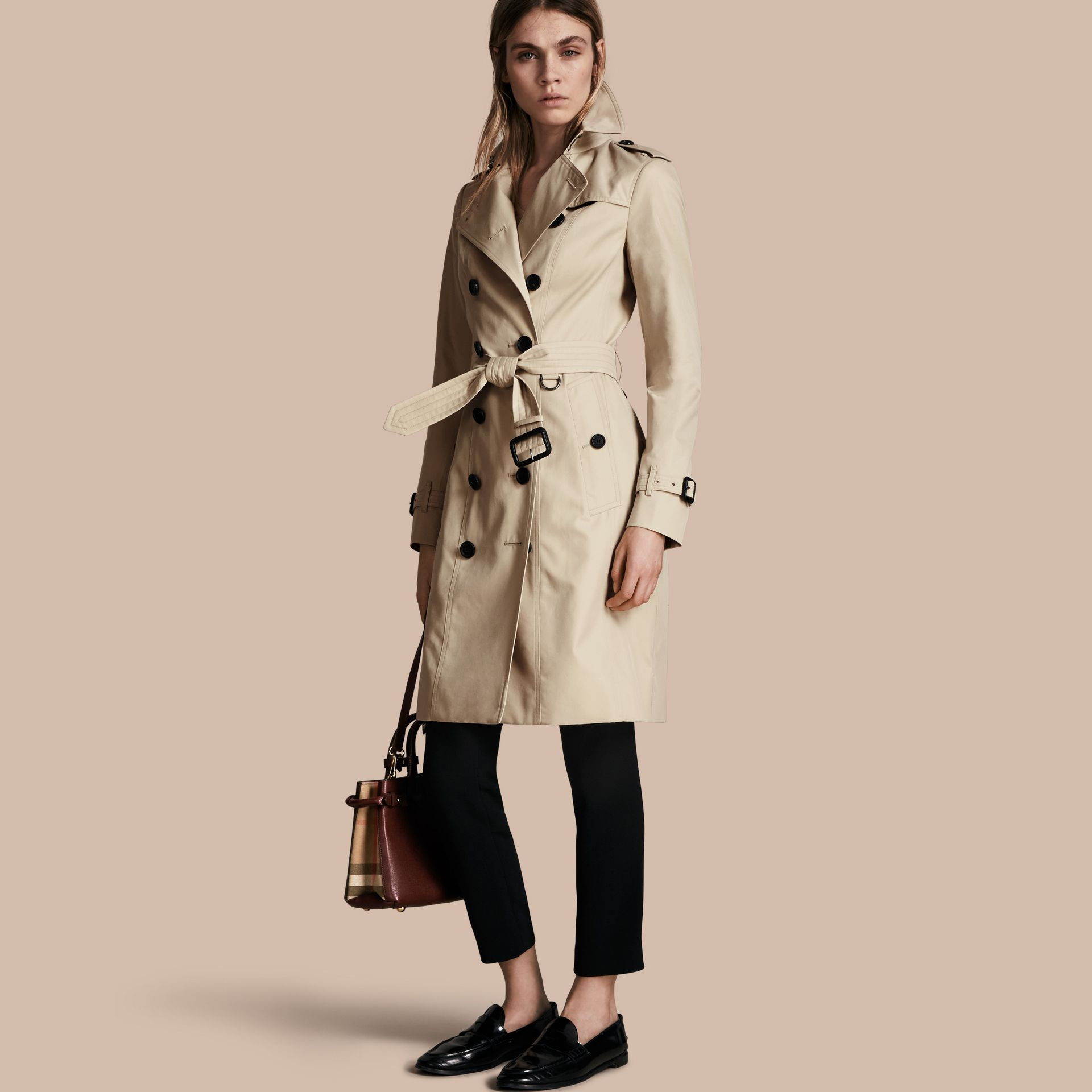 Stone The Sandringham – Long Heritage Trench Coat Stone - gallery image 1
