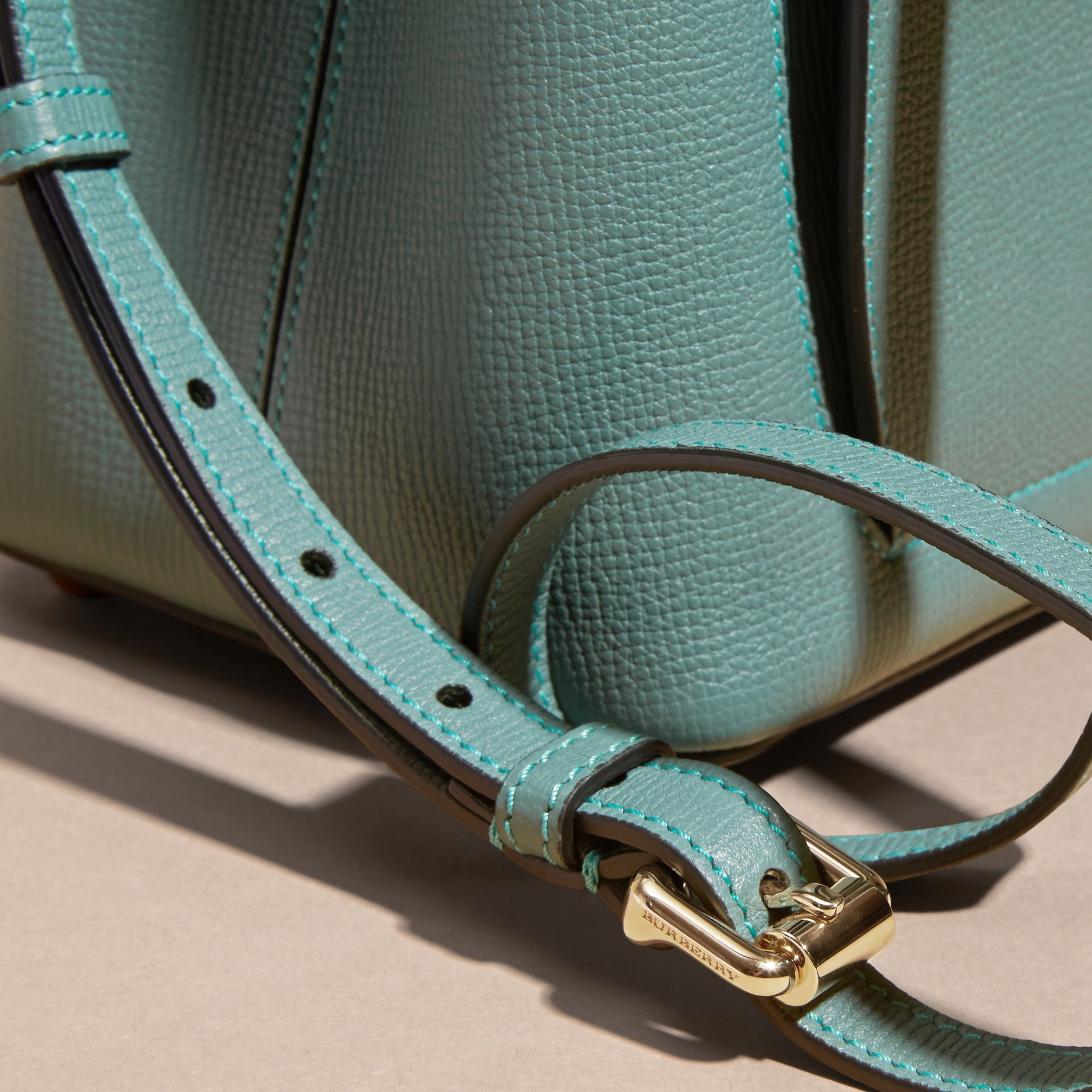 Smokey green The Small Saddle Bag in Grainy Bonded Leather Smokey Green - gallery image 2