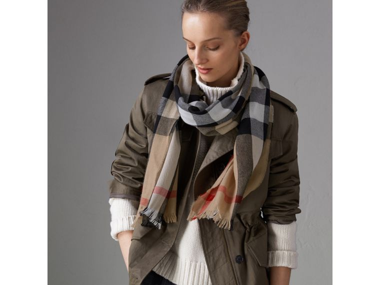 Check Modal Cashmere and Silk Scarf in Camel | Burberry United States - cell image 4