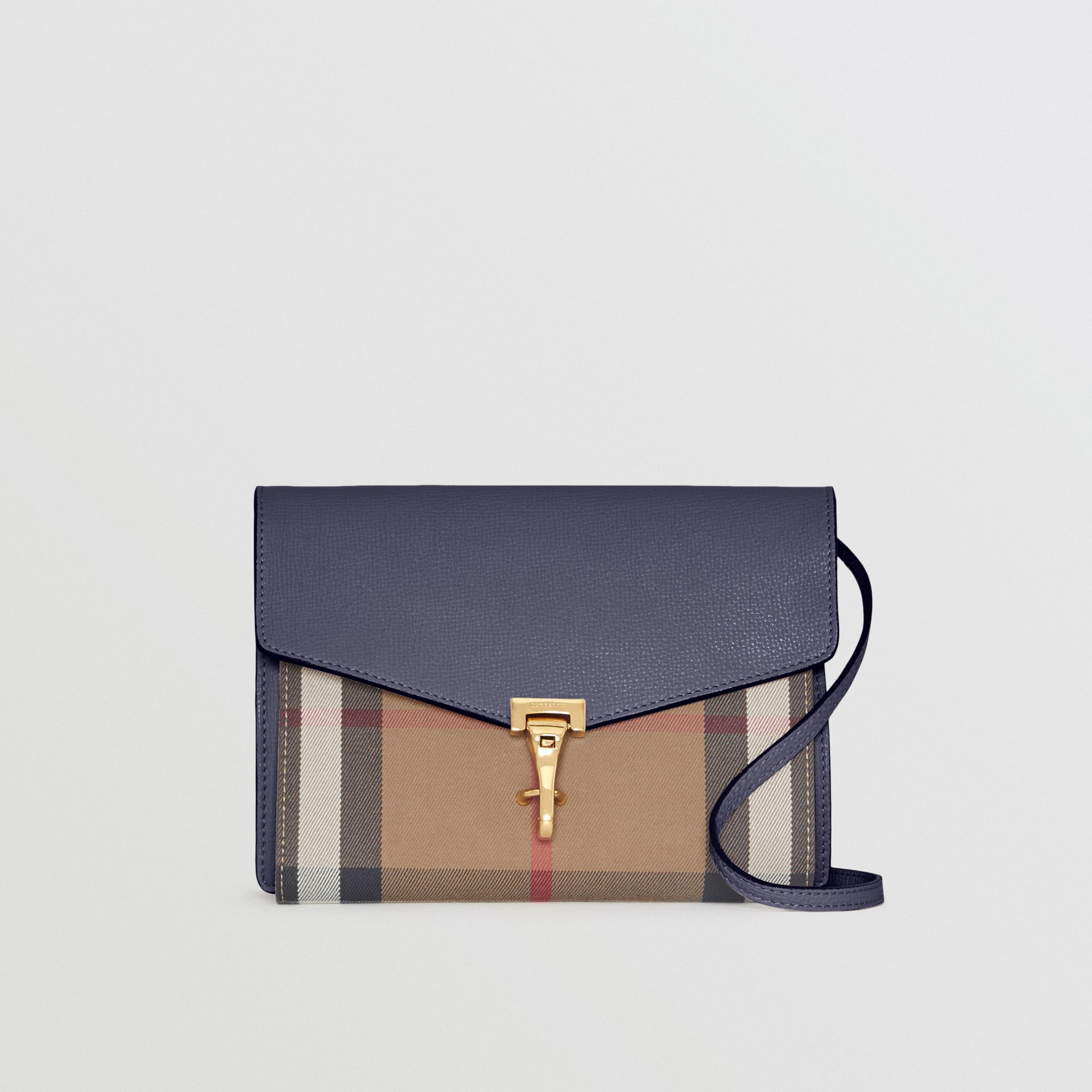 Small Leather and House Check Crossbody Bag in Ink Blue - Women | Burberry Hong Kong - gallery image 0
