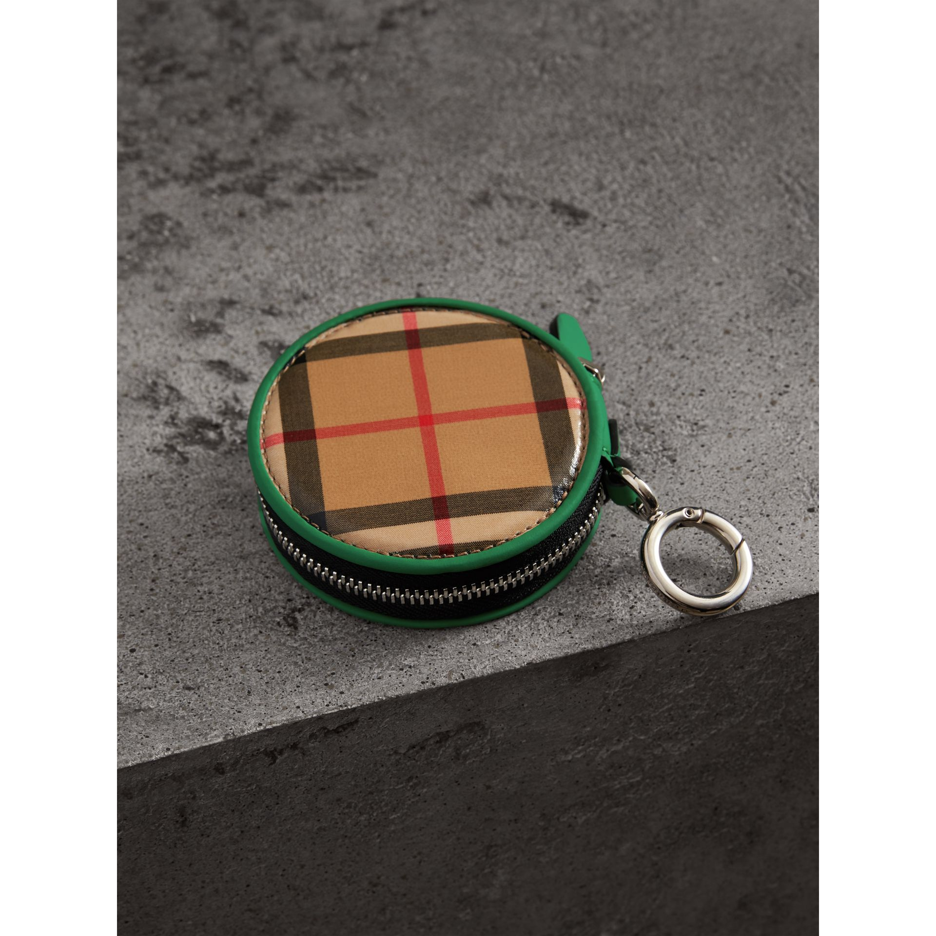 Coated Vintage Check Coin Case in Palm Green | Burberry Australia - gallery image 2