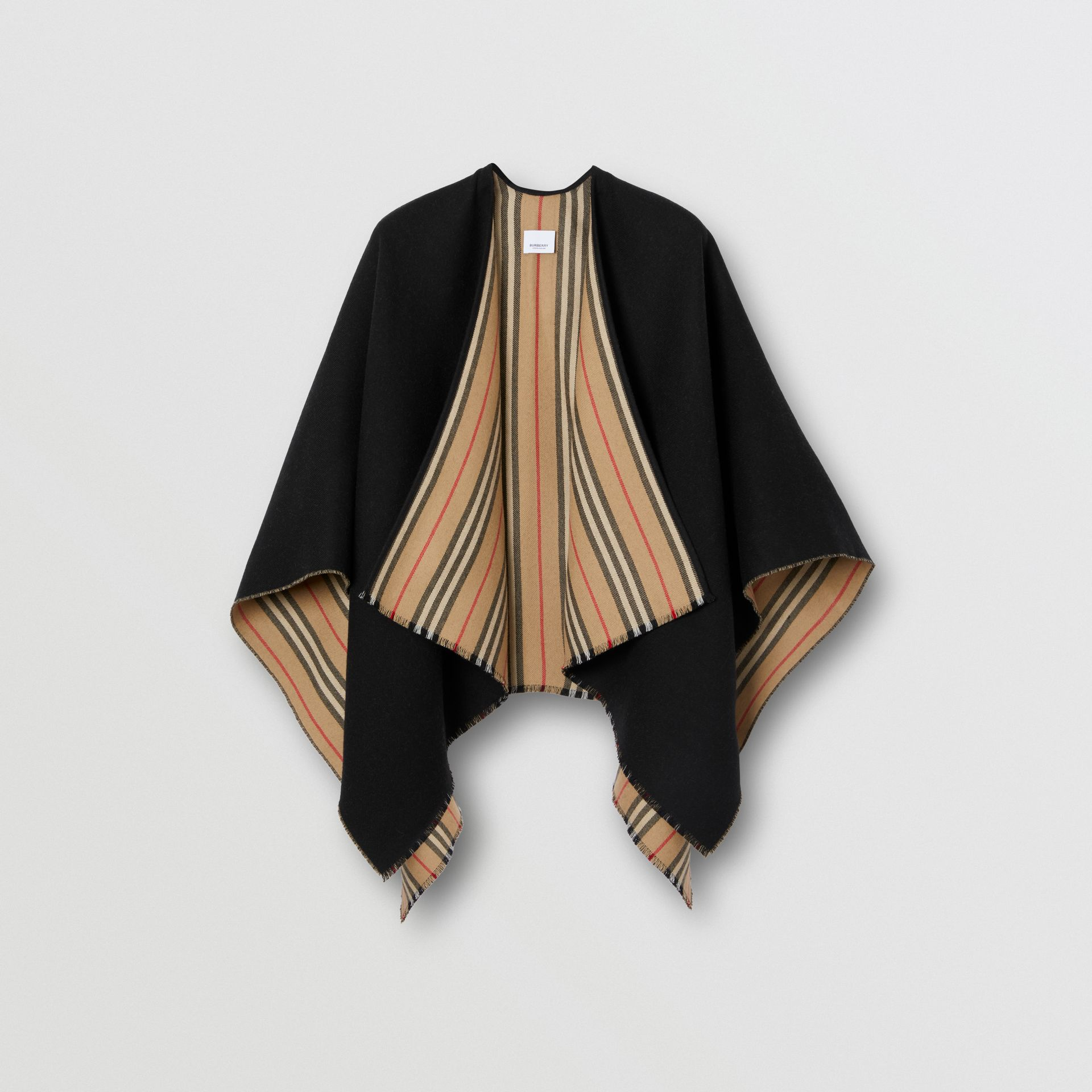 Icon Stripe Detail Wool Cape in Black - Women | Burberry - gallery image 3