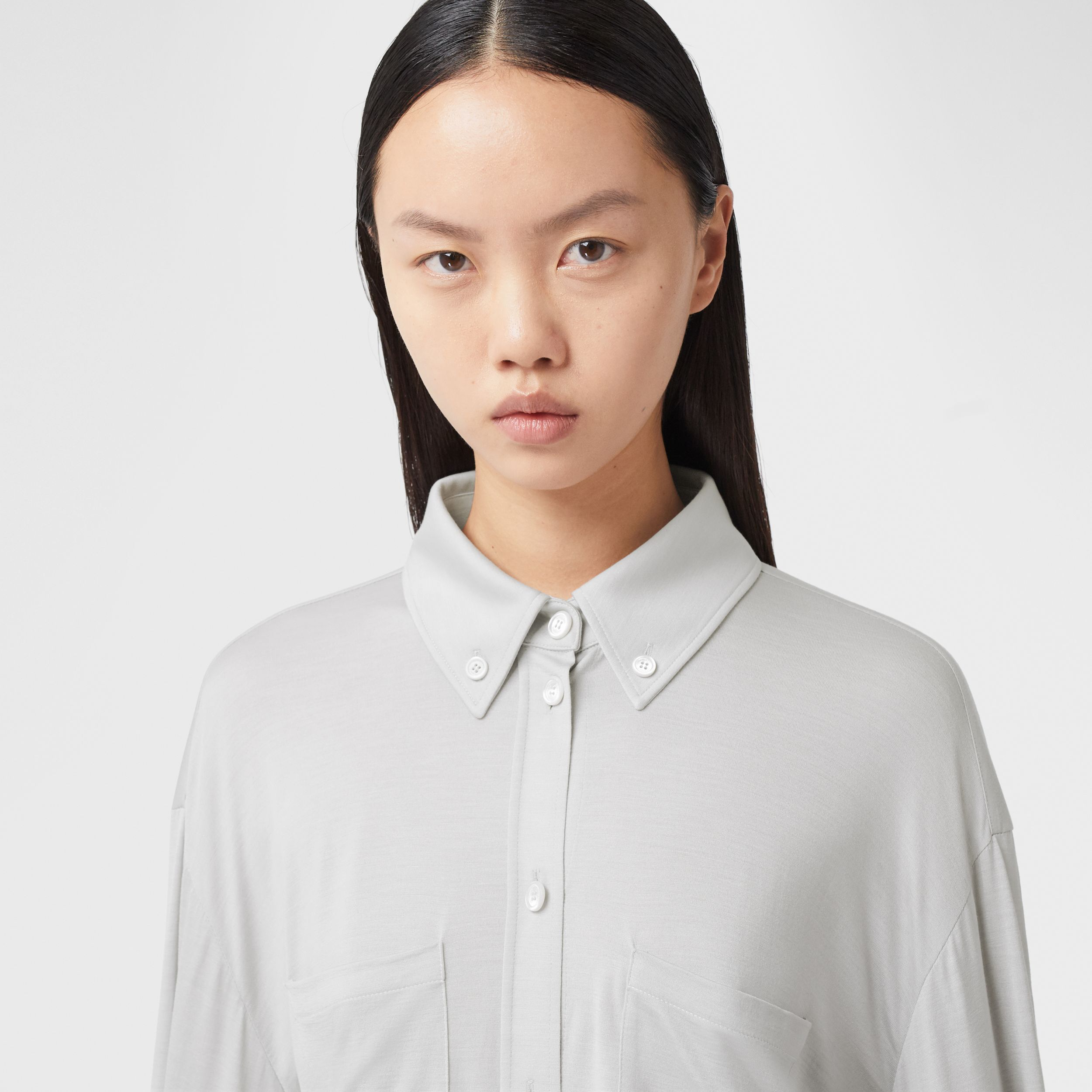 Fringed Silk Wool Jersey Shirt in Grey Melange - Women | Burberry - 2