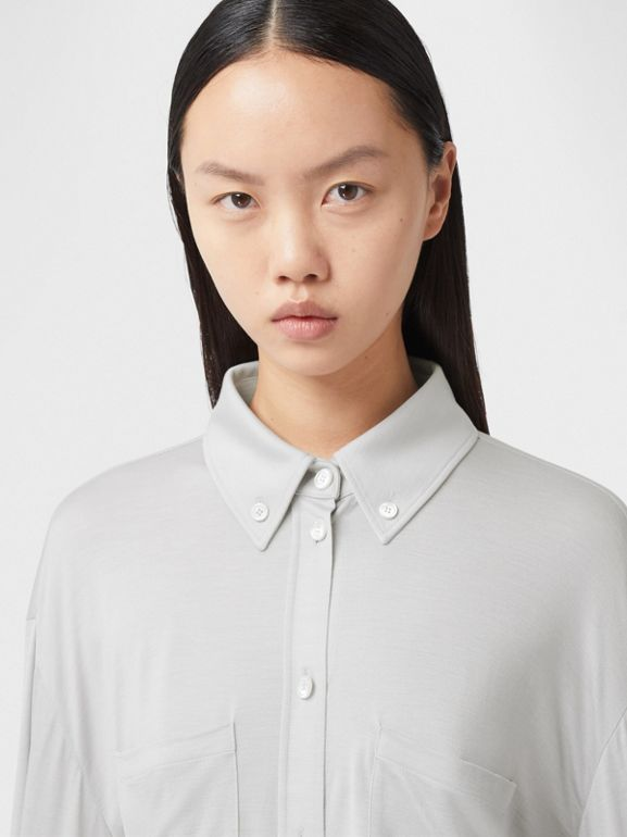 Fringed Silk Wool Jersey Shirt in Grey Melange - Women | Burberry Canada - cell image 1