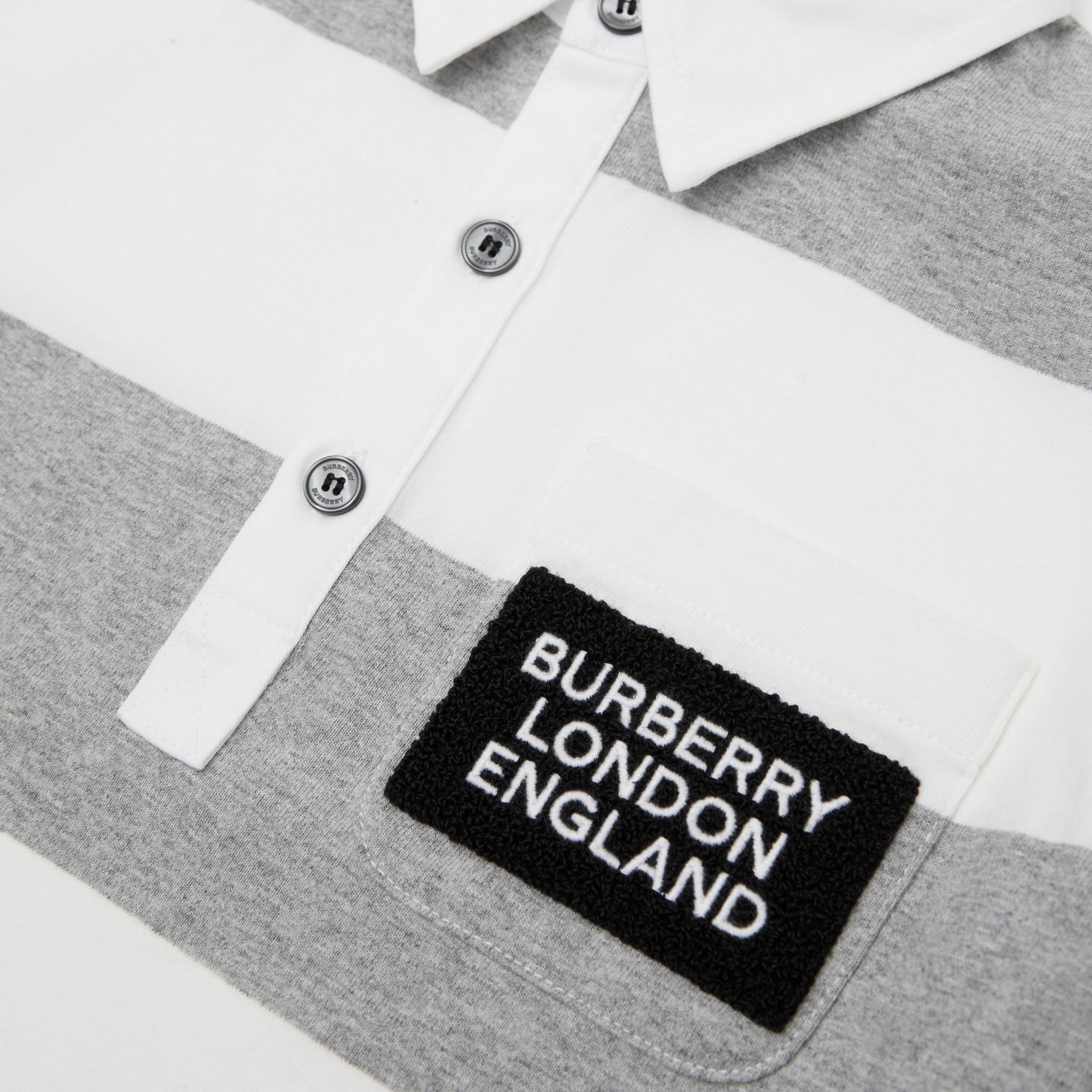 Long-sleeve Striped Cotton Polo Shirt in Grey Melange | Burberry - gallery image 1
