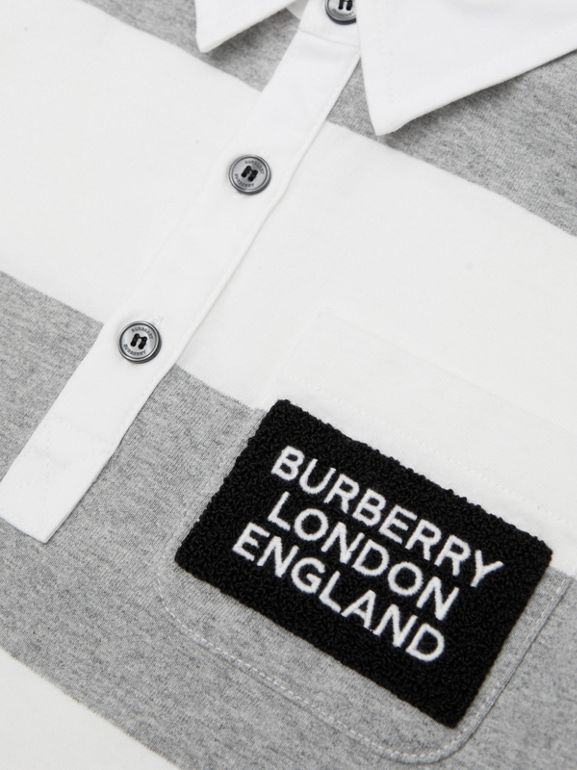 Long-sleeve Striped Cotton Polo Shirt in Grey Melange | Burberry - cell image 1