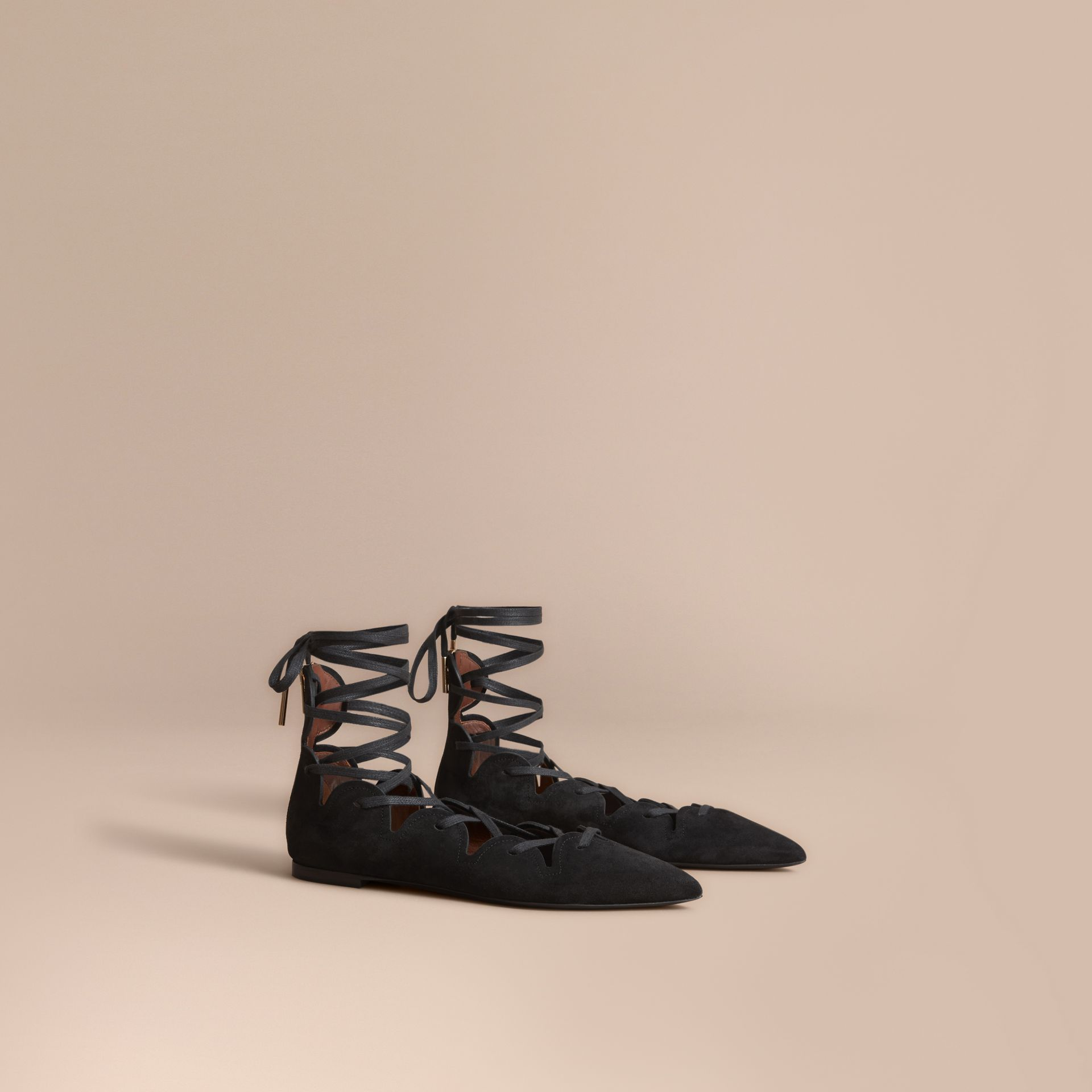 Scalloped Suede Lace-up Ballerinas in Black - Women | Burberry United States - gallery image 1
